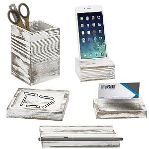 MyGift 5-Piece Vintage White Washed Wood Office Desk Supply Holder Set