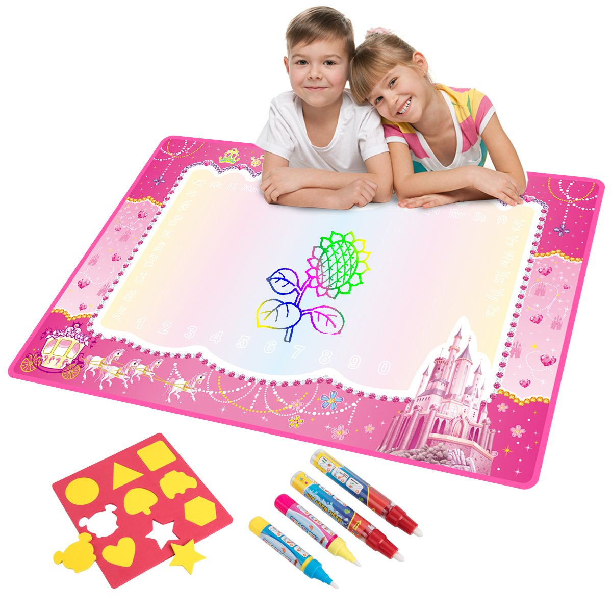 Water Doodle Mat, Water Drawing Mat Kids Toys Large Magic Toddlers Painting Board Writing Mats Scribble Boards with 4 Magic Pen and Draw Templates for Boys Girls Learning Gift Size 29 x 19 (Pink) by Vidillo (Image #1)