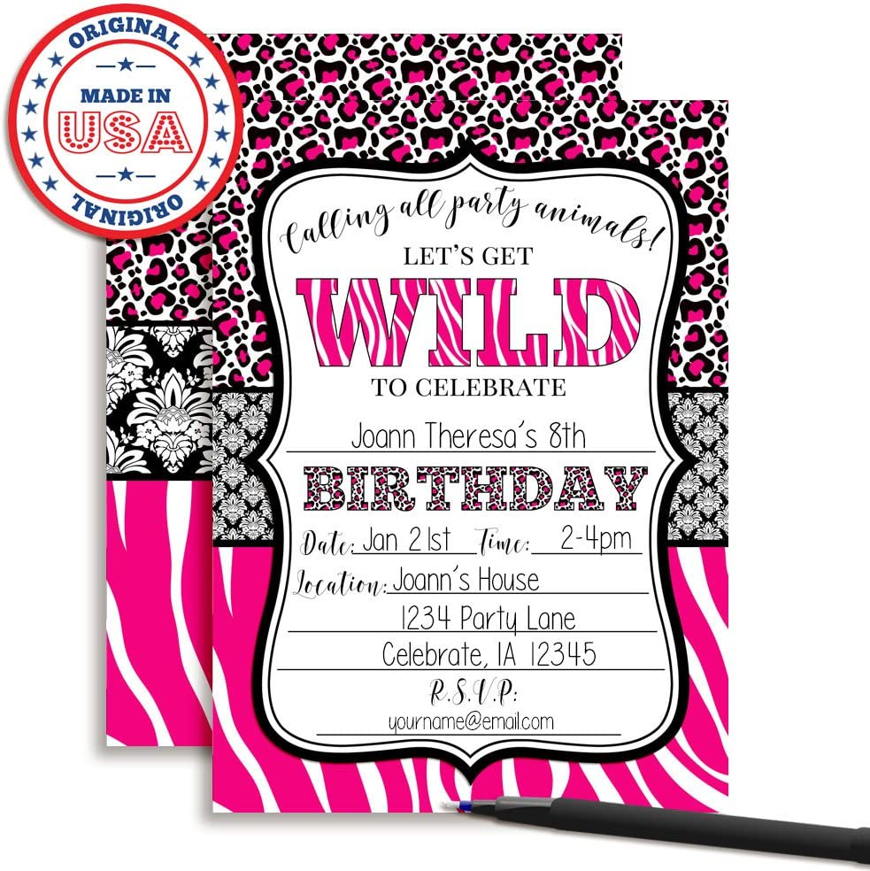 Amazon Com Hot Pink Animal Print Birthday Party Invitations For Girls 20 5 X7 Fill In Cards With Twenty White Envelopes By Amandacreation Toys Games