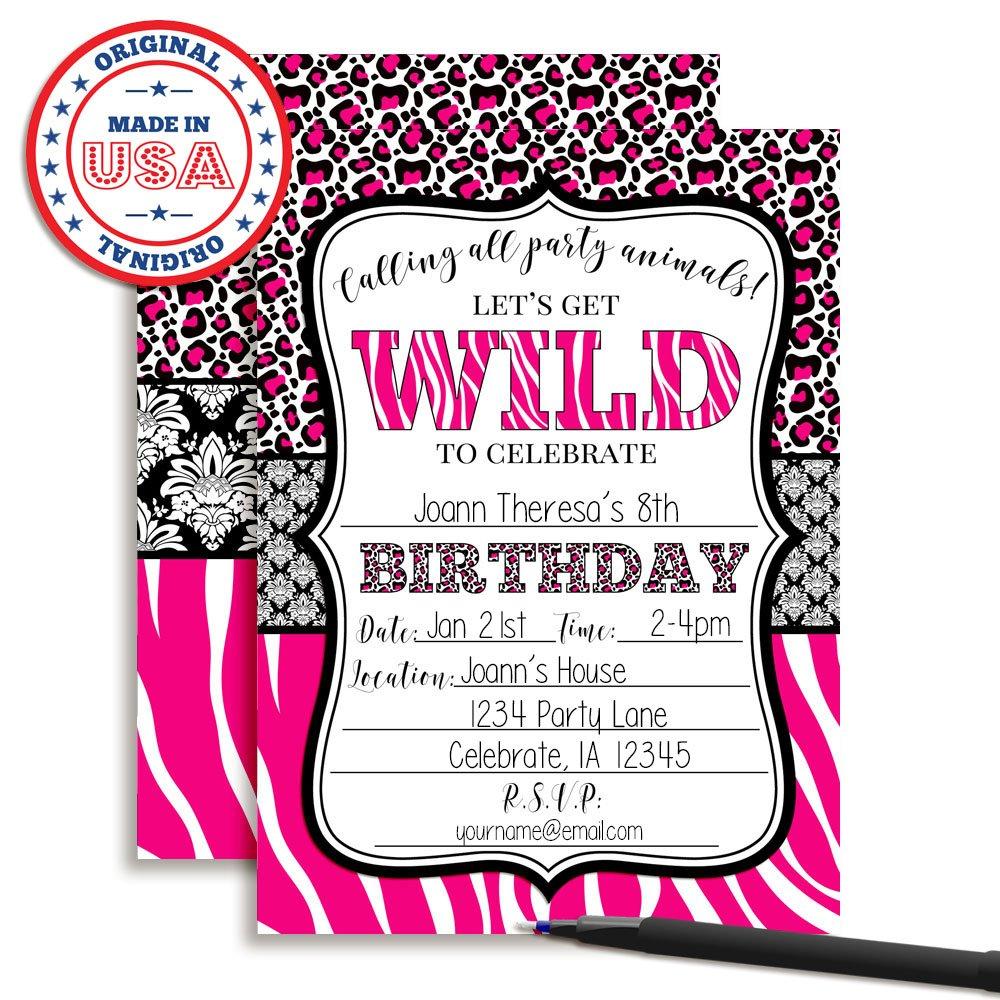 Amazon.com: Hot Pink Animal Print Birthday Party Invitations for ...