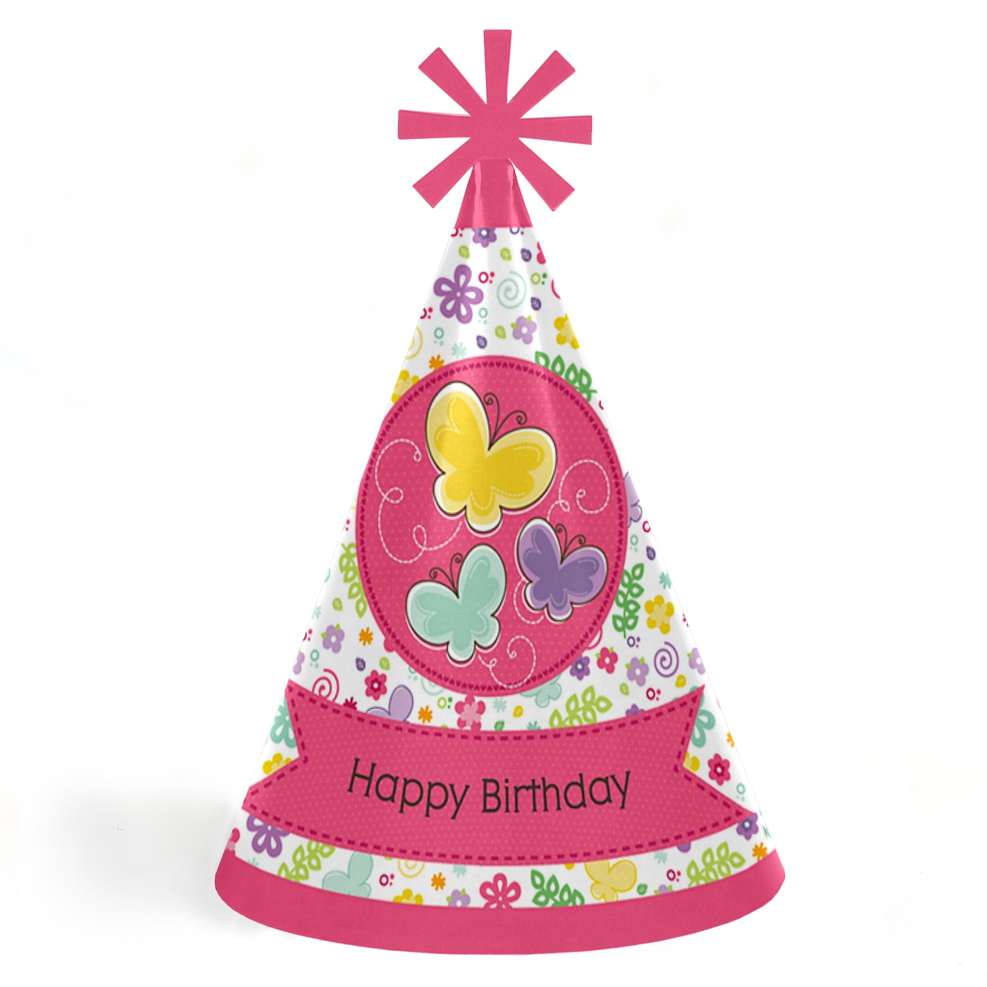 Playful Butterfly and Flowers - Cone Happy Birthday Party Hats for Kids and Adults - Set of 8 (Standard Size)