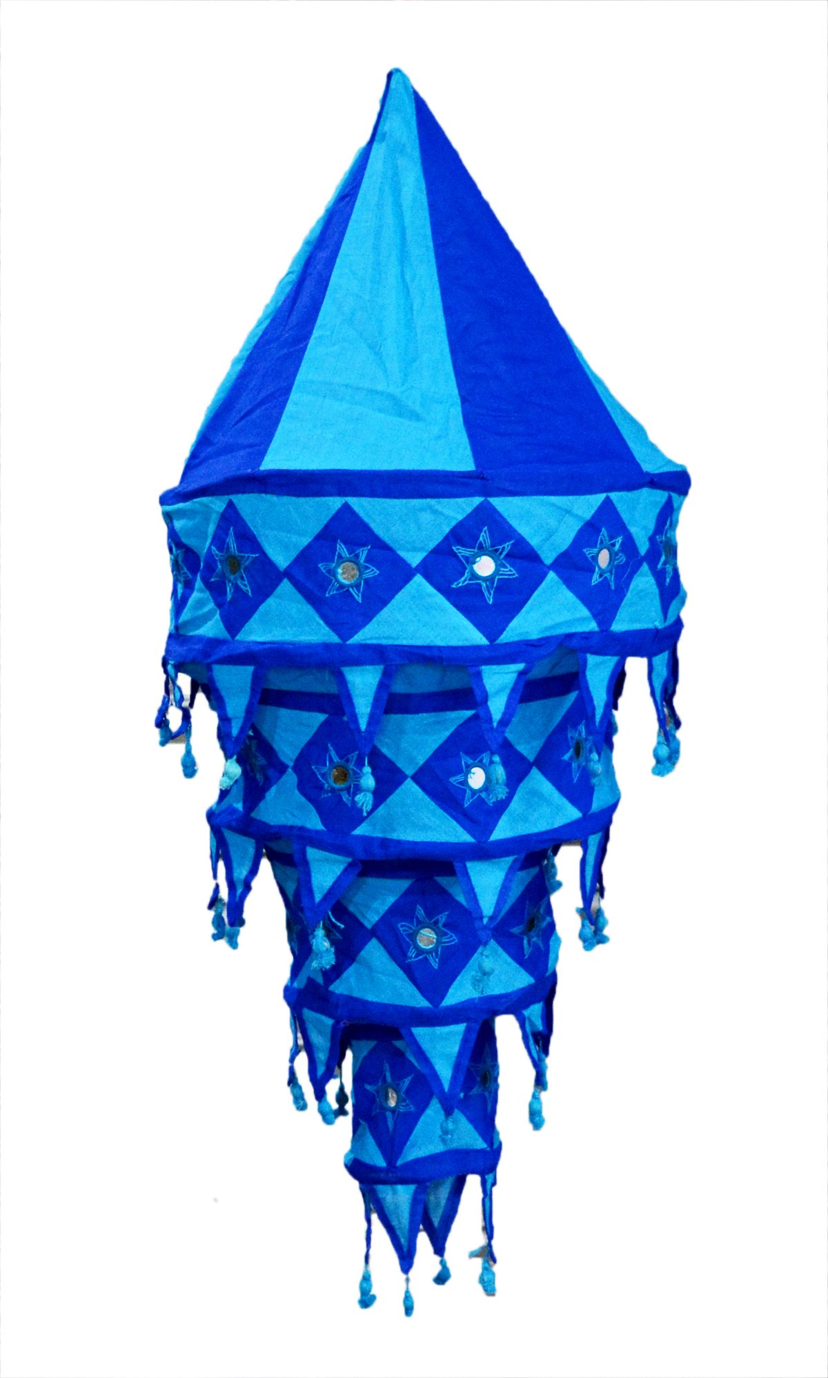 Indian Traditional Hanging Lampshade Embroidered Mirror Work Home Decor 4 Layer Lamp