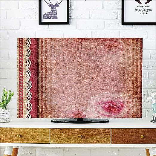 Funda para televisor LCD, decoración Estilo Shabby Chic, Marco de Estilo Vintage con Bordes de Encaje, diseño de ...