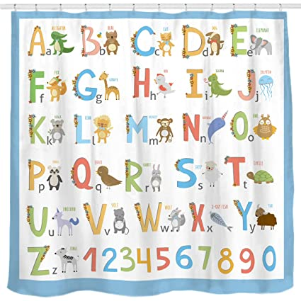 Sunlit Alphabet Fabric Shower Curtain For Kids ABC Educational Learning Tool Boys And Babies Large