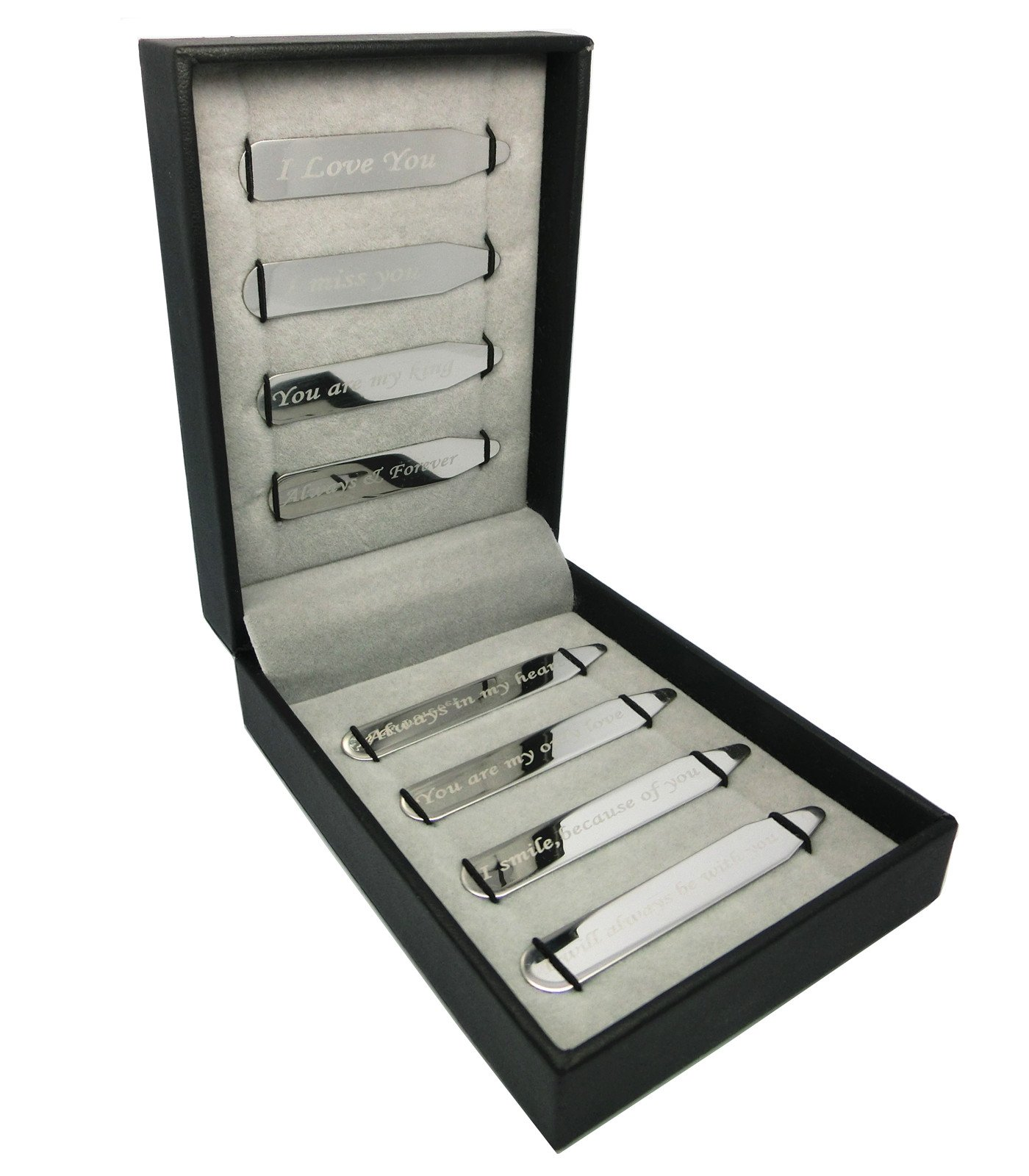 Shang Zun 8 Pcs Love Notes Stainless Steel Collar Stays in Gift Box, Silvery