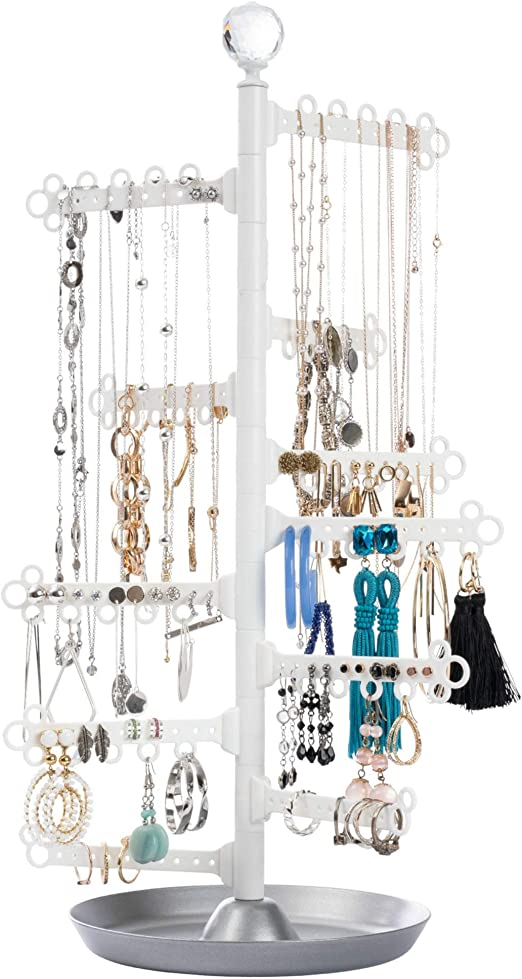 Black Rings All Hung Up 12-Tier ~ Extra Capacity ~ Wall OR Mirror Mounted ~ Hanging Jewelry Organizer Holder ~ Display Everything-Save Space ~ Long Necklaces Earrings 110 Pairs Bracelets