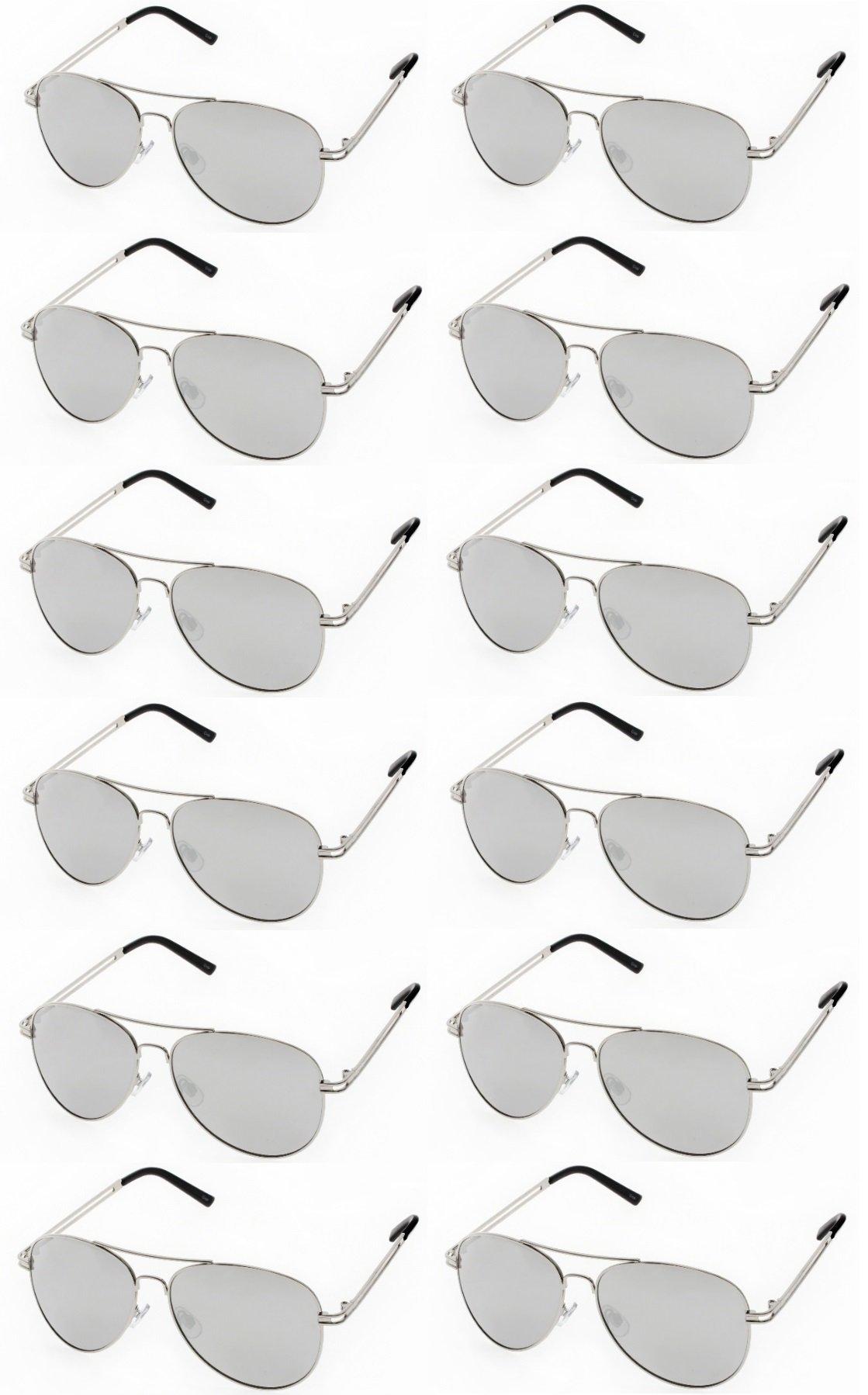 AVIATOR SUNGLASSES - Classic & Stylish Retro Sunglasses Bulk Wholesale (12 Pack)