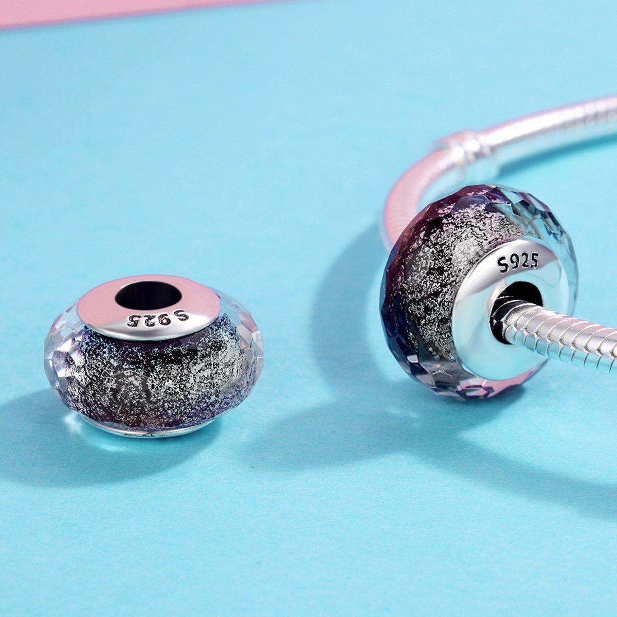 71ffdd3458976 Murano Glass Charm, 925 Sterling Silver Core European Pattern Gray ...