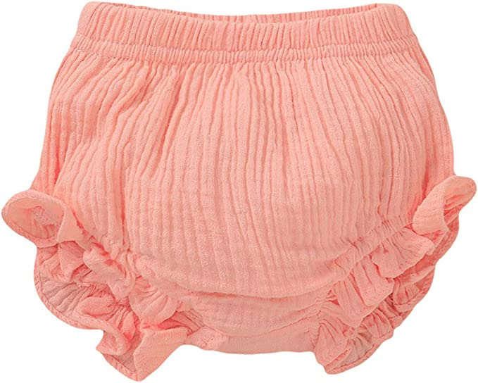 AYIYO Toddler Baby Girls Kids Cotton Linen Ruffle Bloomer Shorts Diaper Cover