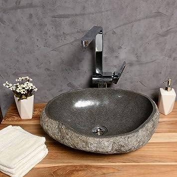 waschbecken stein wohnfreuden naturstein steinwaschbecken a 40 cm handwaschbecken aus aufsatzwaschbecken flussstein findling rund garten