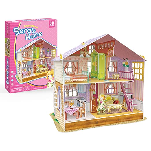 CubicFun P678h Dream Dollhouse - Sara's Home with Furniture Lovely 3D Puzzle, 96 Pieces