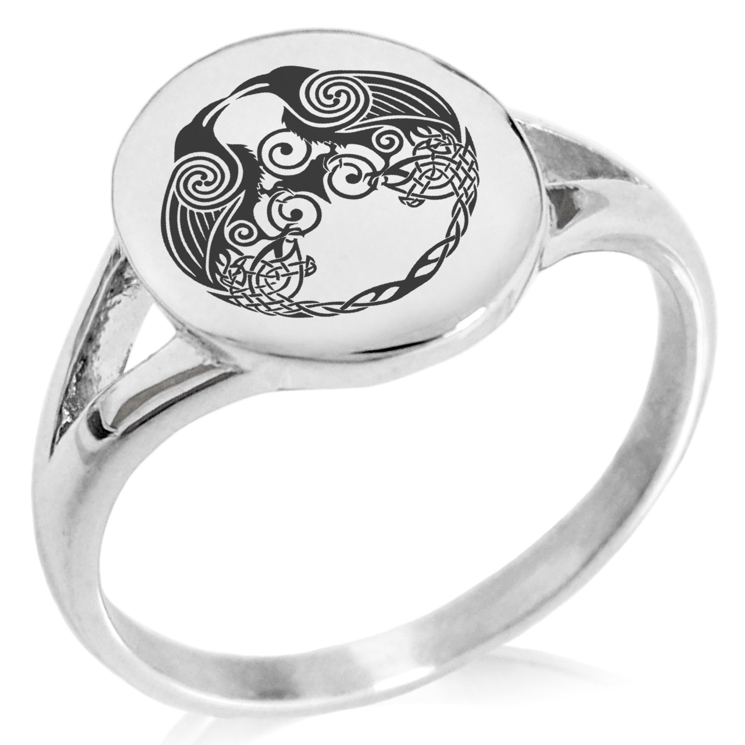 Tioneer Stainless Steel Yggdrasil Huginn & Muninn Odin's Ravens Symbol Minimalist Oval Top Polished Statement Ring, Size 10