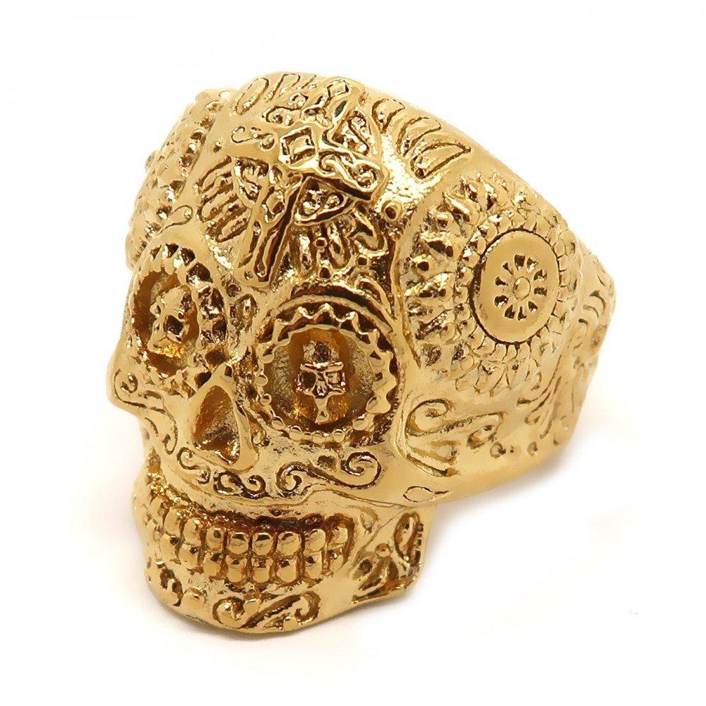 BOBIJOO Jewelry - Bague Chevalière Homme Tête de Mort Biker Maya Sculpté Croix Acier Doré Or Fin