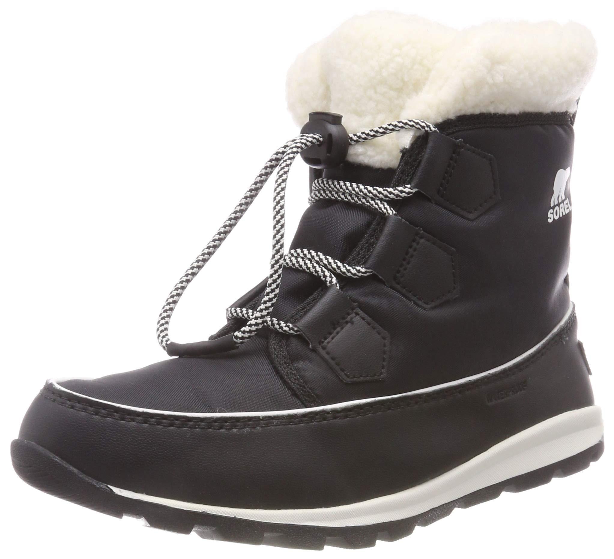 Sorel Girls' Youth Whitney Carnival Snow Boot, Black, sea Salt, 2 M US Big Kid