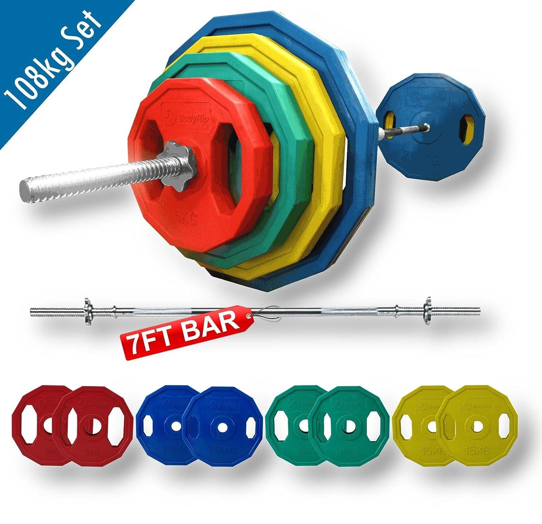 BodyRip 108 kg pesas de poligonales y estándares para barra y juego 213,36 cm 2,54 cm: Amazon.es: Deportes y aire libre