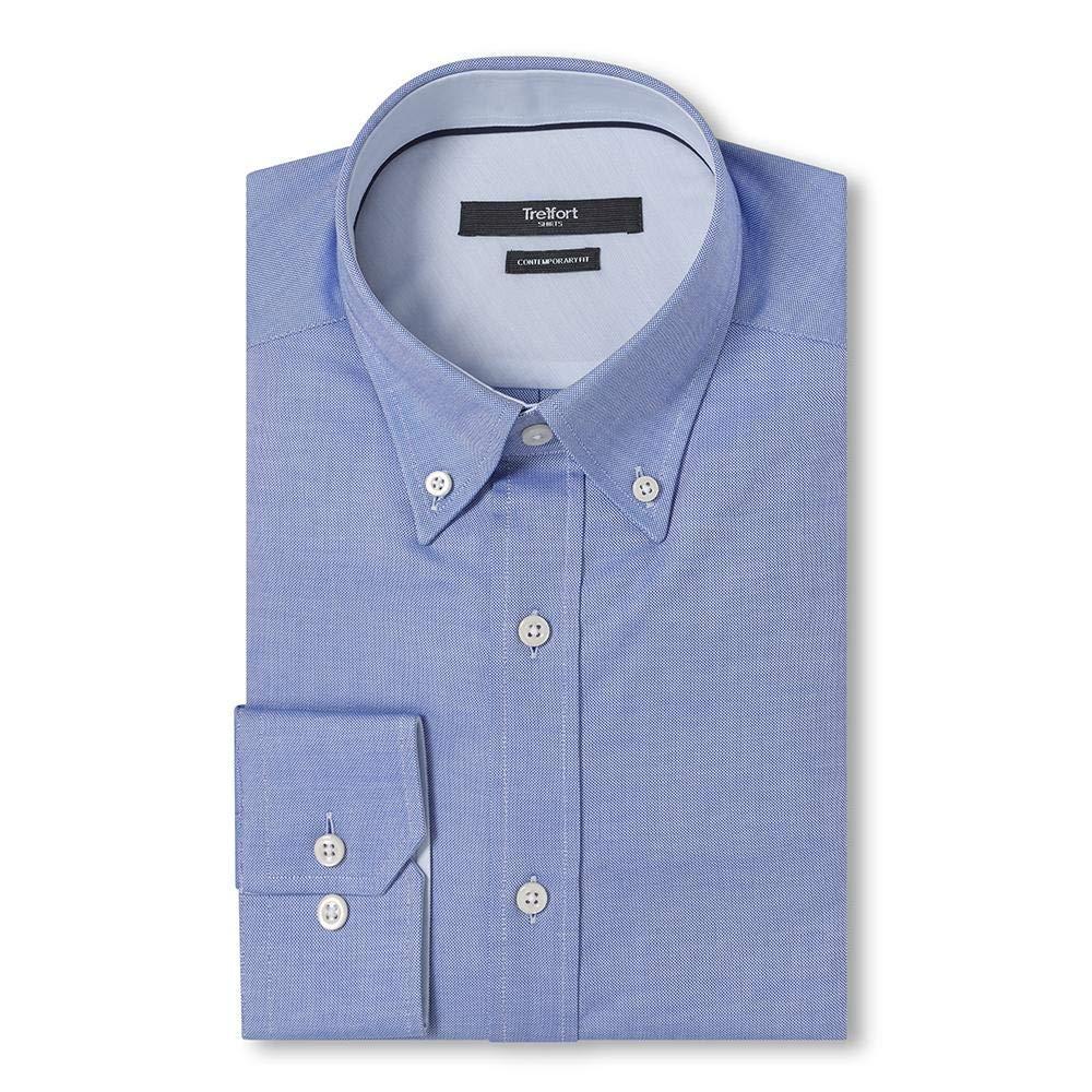 TREFFORT Contemporary Fit Signature Oxford Shirt Blue L
