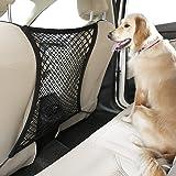 "rabbitgoo Dog Car Net Barrier,13.98"" × 15.55"", Metal Hooks & Stretchable Mesh Obstacle, Back Seat Net Organizer, Design for P"
