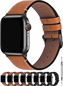 Fullmosa Compatible Apple Watch Bands 40mm 44mm,8 Colors Compatible with iWatch Series 6/SE Series 5 Series 4,40mm Light Brown+Smoky Grey Buckle