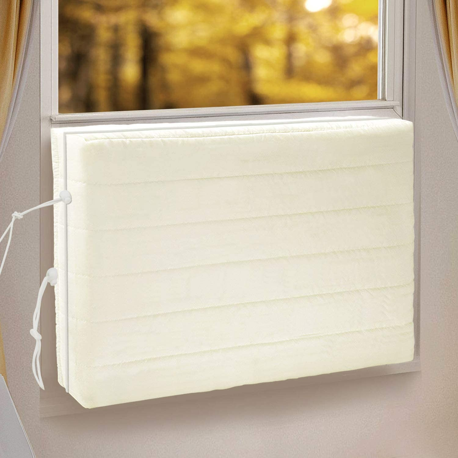 GISSVOGEEK Indoor Air Conditioner Cover for Window Units, Window AC Unit Cover for Inside, Double Insulation with Drawstring, XS Beige 17 x 13 x 3 inches (L x H x D)