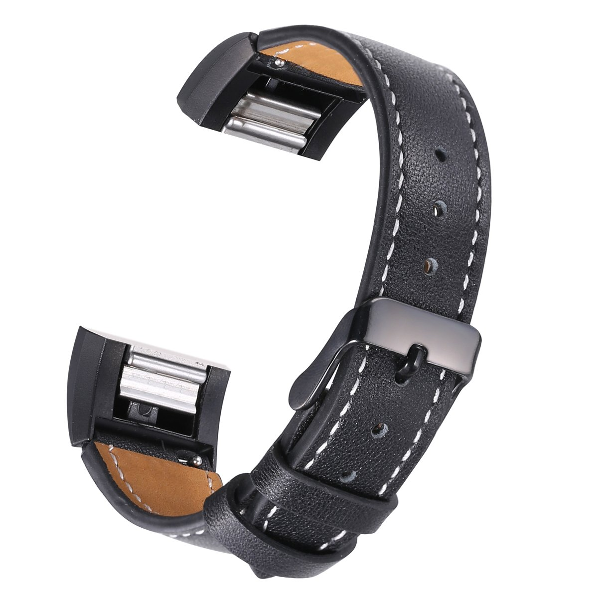bayite Leather Band for Fitbit Charge 2, Black with line, 5.5'' - 7.1''