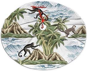 "Christmas Tree Skirt Hawaiian Vintage Island Palm Tree Monkey Tree Skirts Decor for Holiday Party Christmas Decorations 36"""
