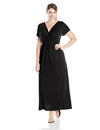 Star Vixen Women\'s Plus-Size Short-Sleeve Twist Front Maxi Dress at ...