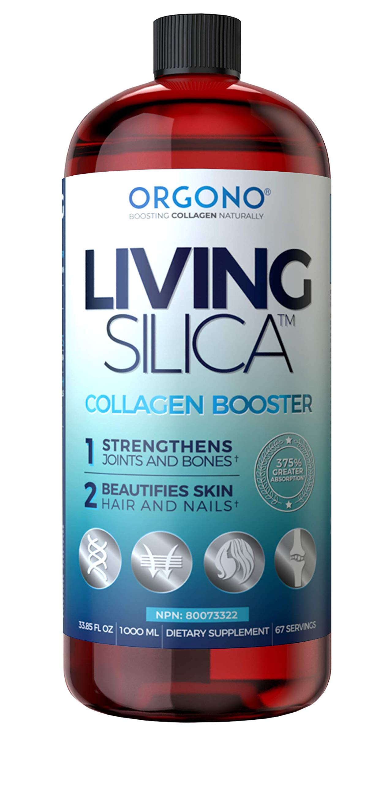 Living Silica, Collagen Booster for Bones Joints Muscles Hair Nails and Skin Double Strength (1000) by Orgono