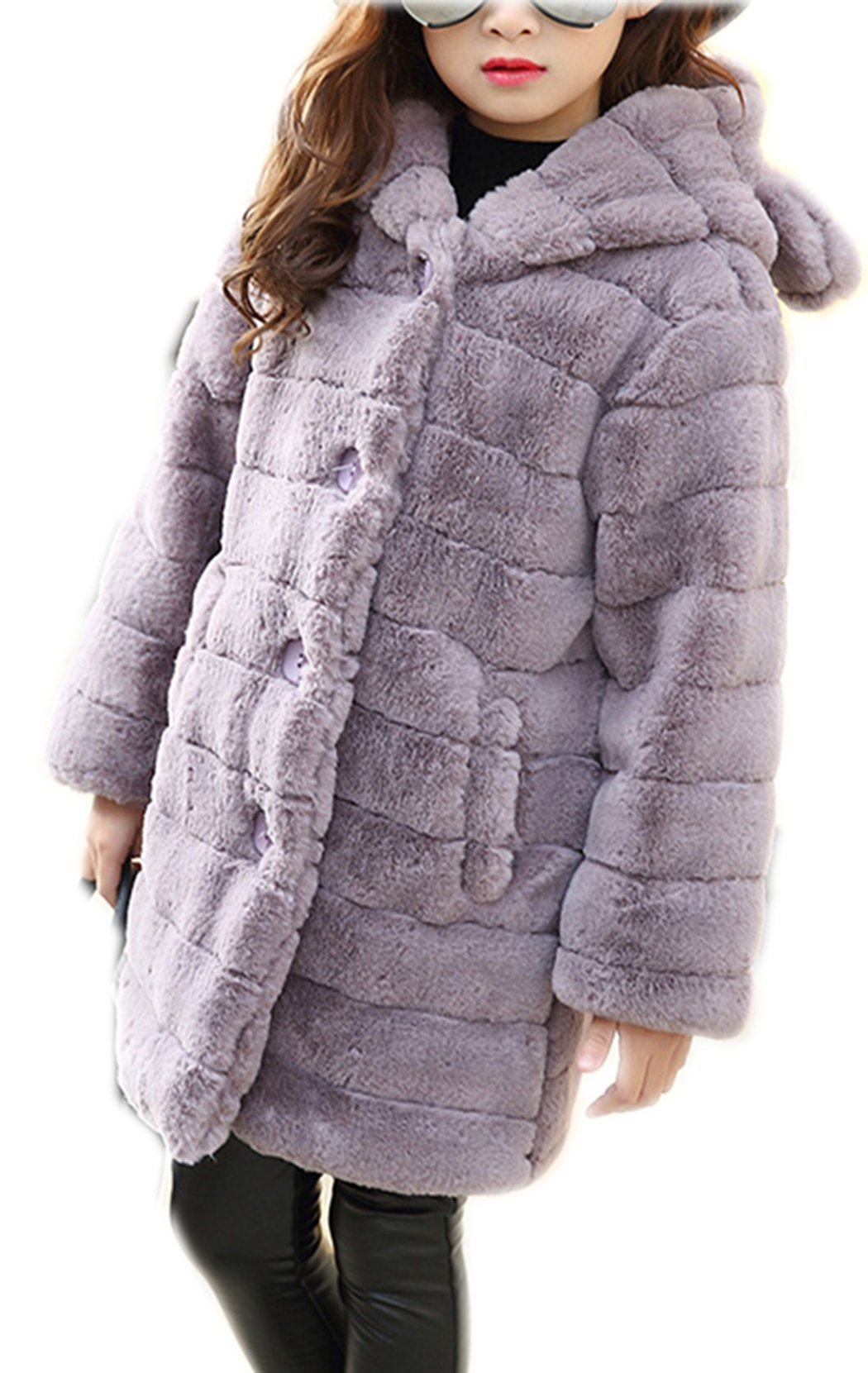 Girl's Long Warm Faux Fur Coat Thicken Fake Fox Hooded Front Button Jacket 120 Grey