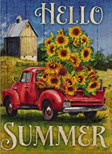 Selmad Hello Summer Garden Flag Sunflower Sunshine Flower Red Farm Truck Double Sided, Burlap Decorative House Yard Decoration, Floral Farmhouse Country Seasonal Home Outdoor Vintage Décor 12 x 18