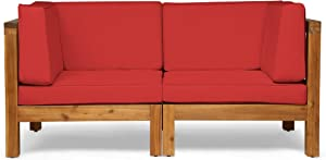 Great Deal Furniture Keith Outdoor Sectional Loveseat Set | 2-Seater | Acacia Wood | Water-Resistant Cushions | Teak and Red