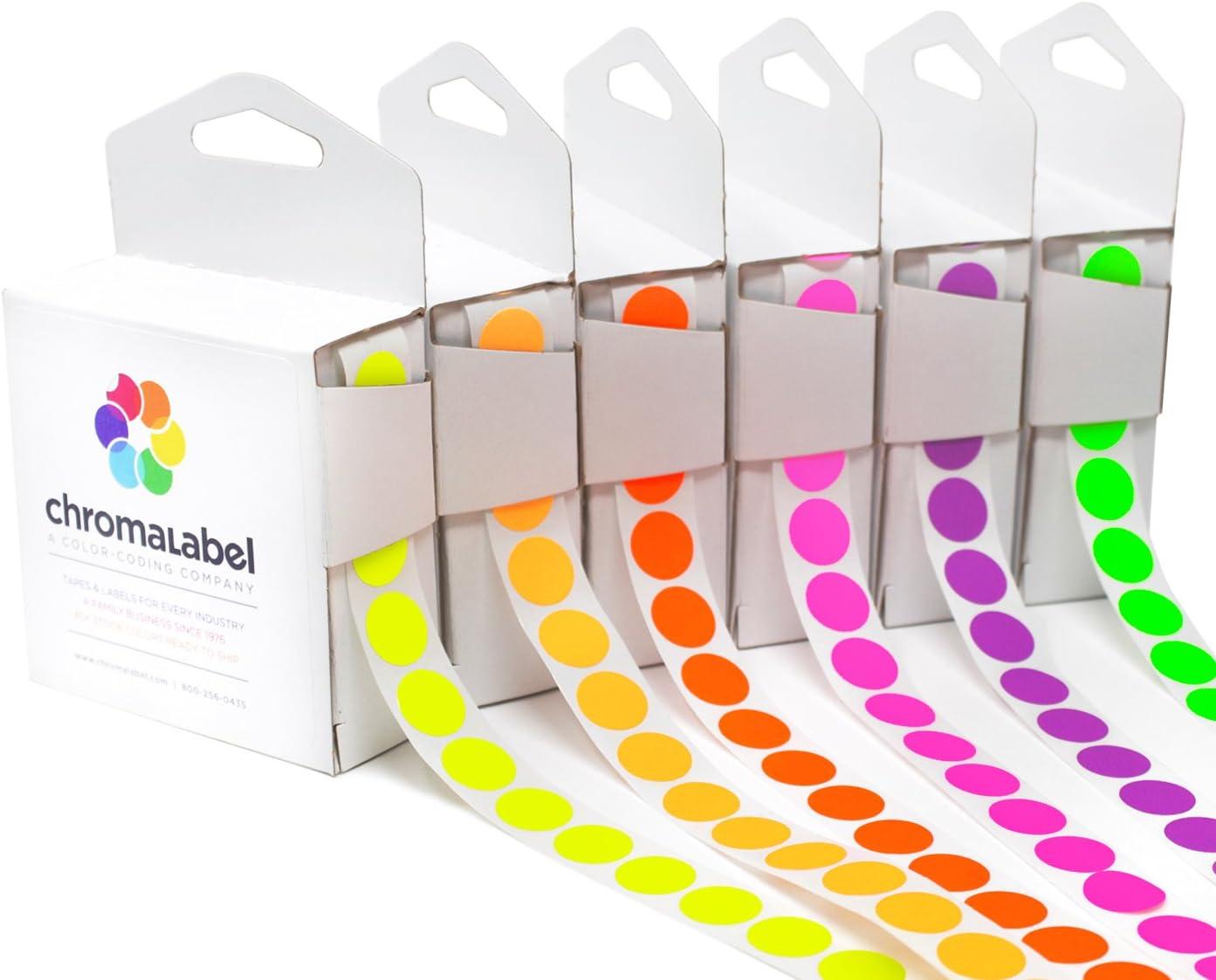 ChromaLabel 1/2 inch Fluorescent Color-Code Dots, 6 Assorted Colors, 1000/Dispenser Box