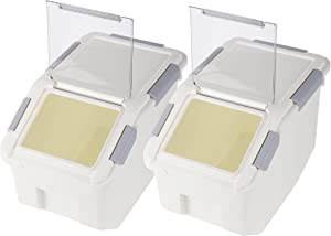 Rice Storage Container with Wheels Seal Locking Lid PP((405.77 oz / 22 Ib / 50 cup),Pack-2)