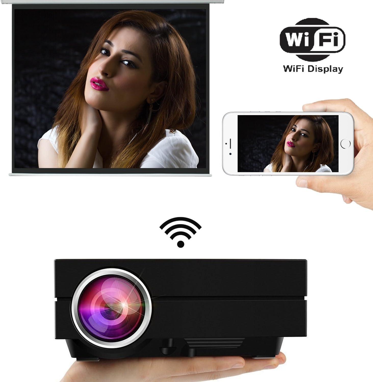 uvistar Proyector (GM60/gm60 a WiFi proyector Mini proyector LED 800 * 480 proyector de 1000 lumens Multimedia para videojuegos, TV, Movie Cine privado de electrodoméstico soporte USB/AV/SD/VGA/HDMI GM60A-NOIR: Amazon.es: Informática