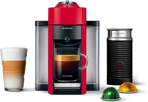 Nespresso ENV135RAE Coffee and Espresso Machine Bundle with Aeroccino Milk Frother by De'Longhi, Red