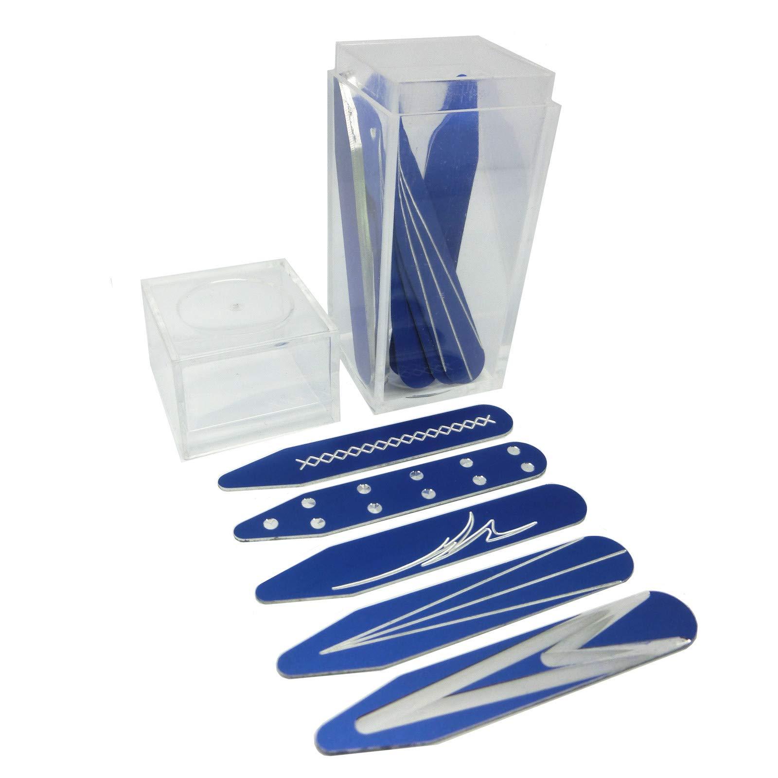 Shang Zun 10 Pcs Aluminum Metal Collar Stays in Clear Box, Blue