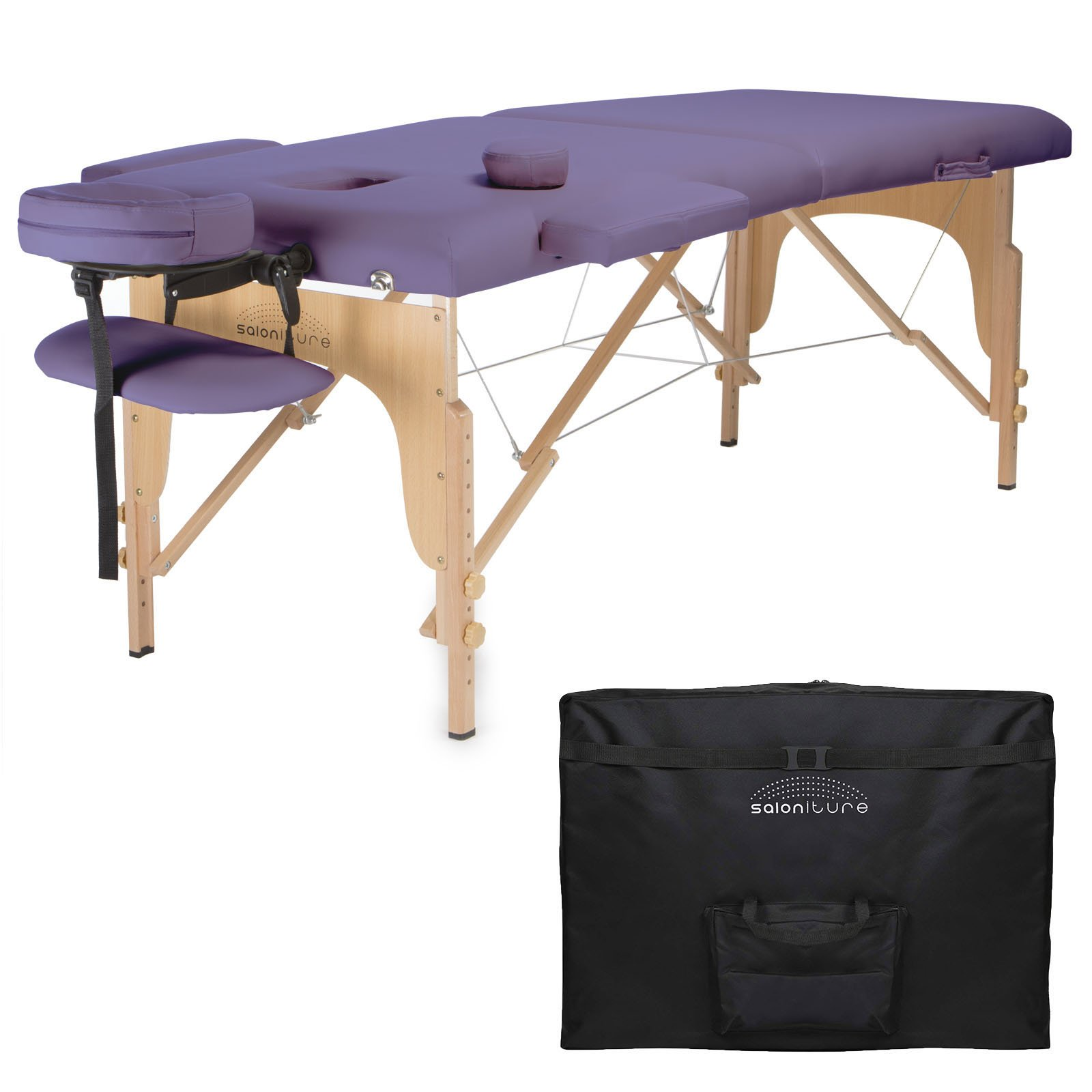 Saloniture Professional Portable Folding Massage Table with Carrying Case - Lavender