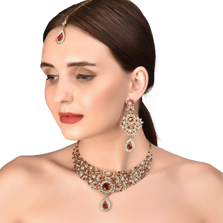 Touchstone Hollywood Glamour Silber wei/ß rot Grand Wedding Abend tragen Schmuck Halskette f/ür Damen