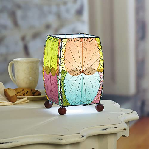 Eangee Home Design Mini Table Lamp Square Multi Shade Made from Real Alibangbang Leaves 6 Inches Length x 6 Inches Width x 9 Inches Height 477 m