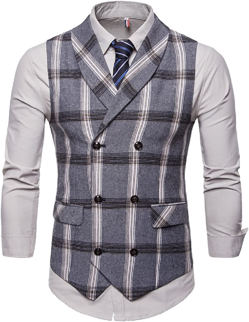 NestYu Mens Plaid Fall Winter Business Skinny-Fit Button Vest Waistcoat