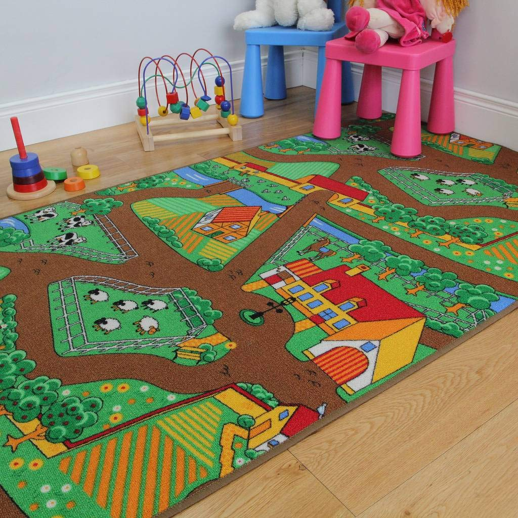 Fun Kid's Country Farm Life Mat Animal and Tractor Area Rug 3'3'' x 5'5''