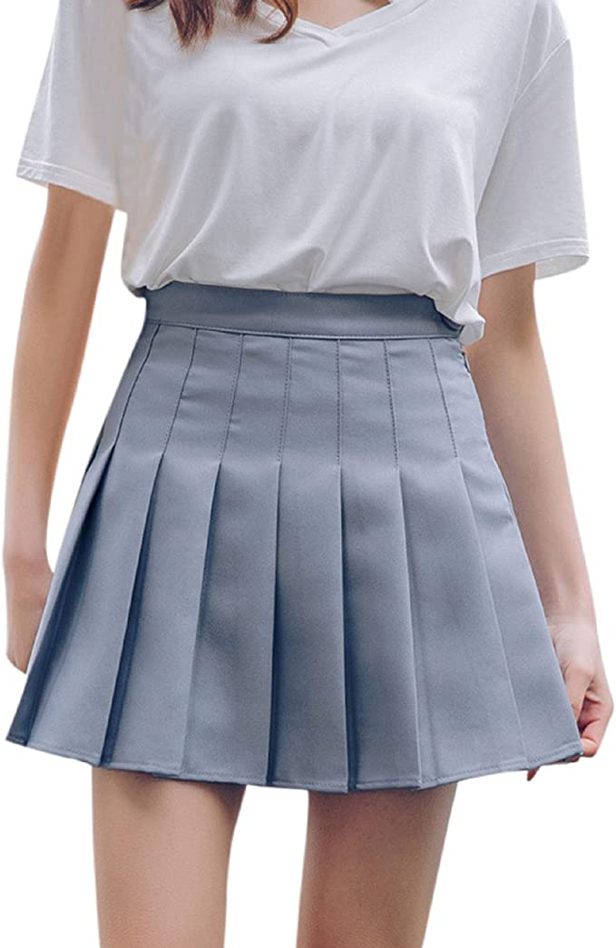 Damen Mädchen Faltenrock A-Linie Minirock Kurz Skater Rock Freizeit Tennis Röcke