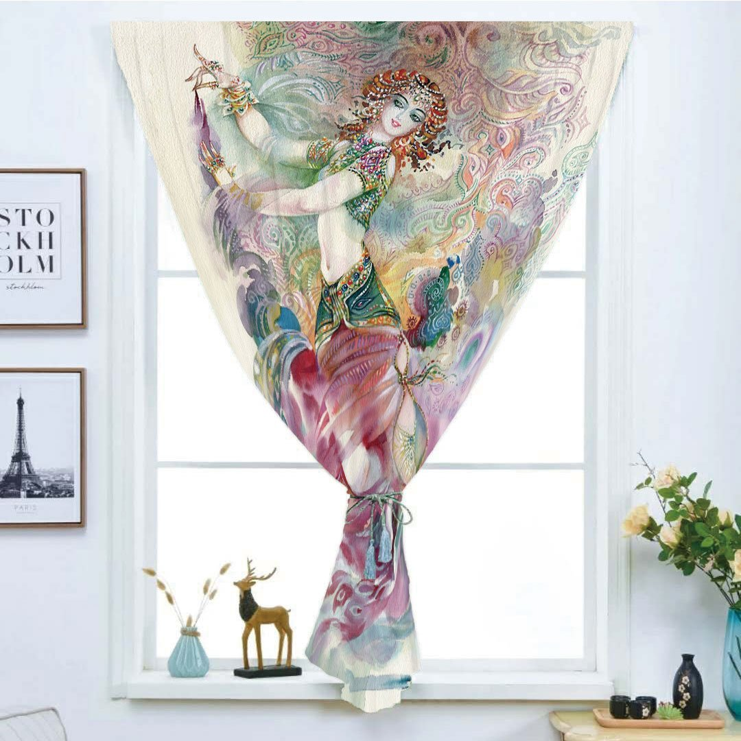 iPrint Blackout Window Curtain,Free Punching Magic Stickers Curtain,Watercolor,Oriental Dance Theme Young Girl Performing in Traditional Costume Fantasy Figure,Multicolor,Paste Style,for Living Room