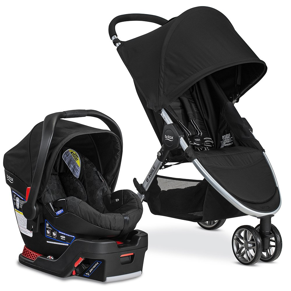 Britax 2017 B-Agile Travel System with B-Safe 35 Infant Car Seat - Birth to 55 Pounds, Raven by BRITAX