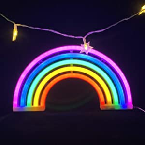 Rainbow Neon Light Sign,5 Colors-Rainbow LED Lamp Wall Sign for Cool Light,Wall Art,Bedroom Decorations,Home Accessories,Party,Holiday Decor Kids Gifts,Battery or USB Operated Table LED Night Lights