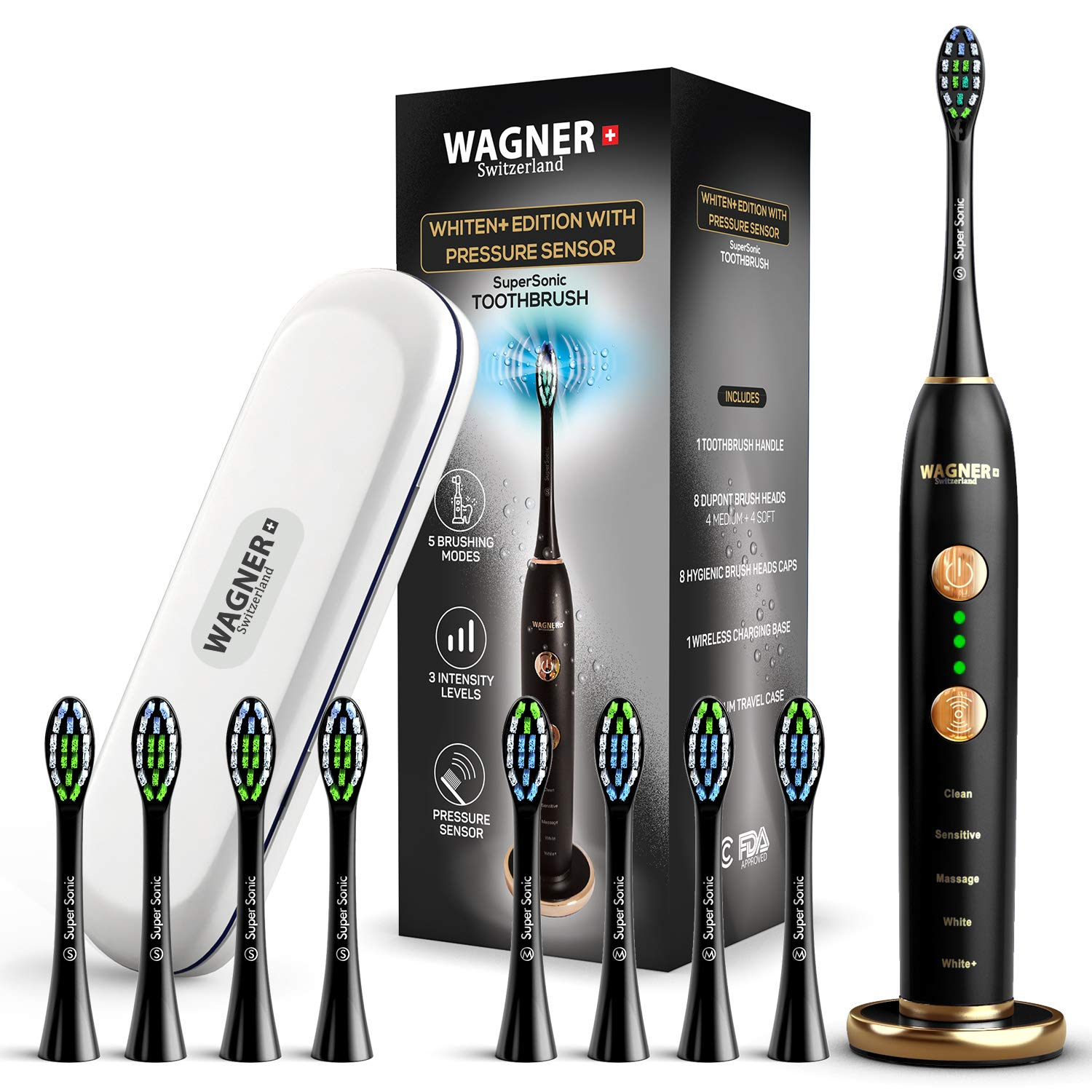 WAGNER Switzerland WHITEN EDITION. Smart electric toothbrush with PRESSURE SENSOR. 5 Brushing Modes and 3 INTENSITY Levels, 8 DuPont Bristles, Premium Travel Case, USB Wireless charging.