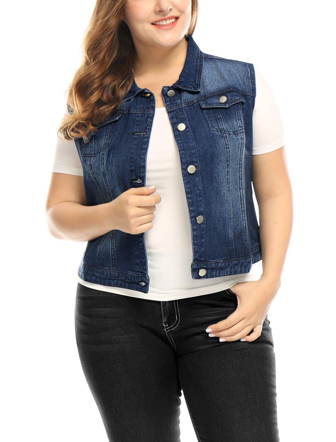 uxcell Women Plus Size Slim Fit Denim Vest Blue 1X by uxcell (Image #2)