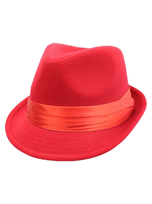 Red Wool Felt Fedora Hat at Amazon Women s Clothing store  b3c5640c1d8