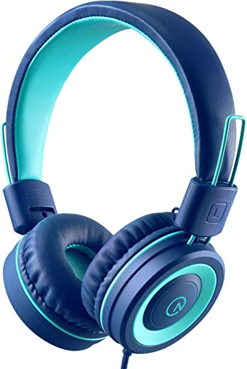 Kids Headphones - noot products K11 Foldable Stereo Tangle-Free 3.5mm Jack Wired Cord On-Ear Headset for Children/Teens/Boys/Girls/Smartphones/School/Kindle/Airplane Travel/Plane/Tablet (Navy/Teal)