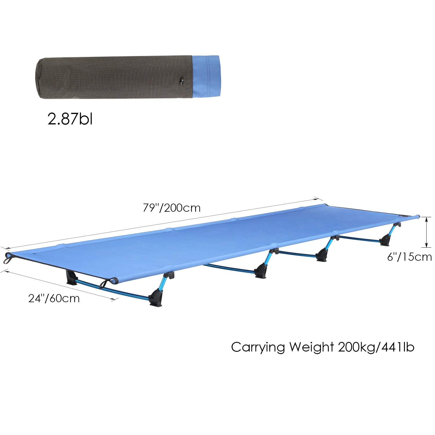 Aluminium Alloy Military Folding Cot for Outdoor Activity Bearing 441bs 79 x 24 Inch femor Ultra-Lightweight Camping Cot Portable Collapsible Camping Bed