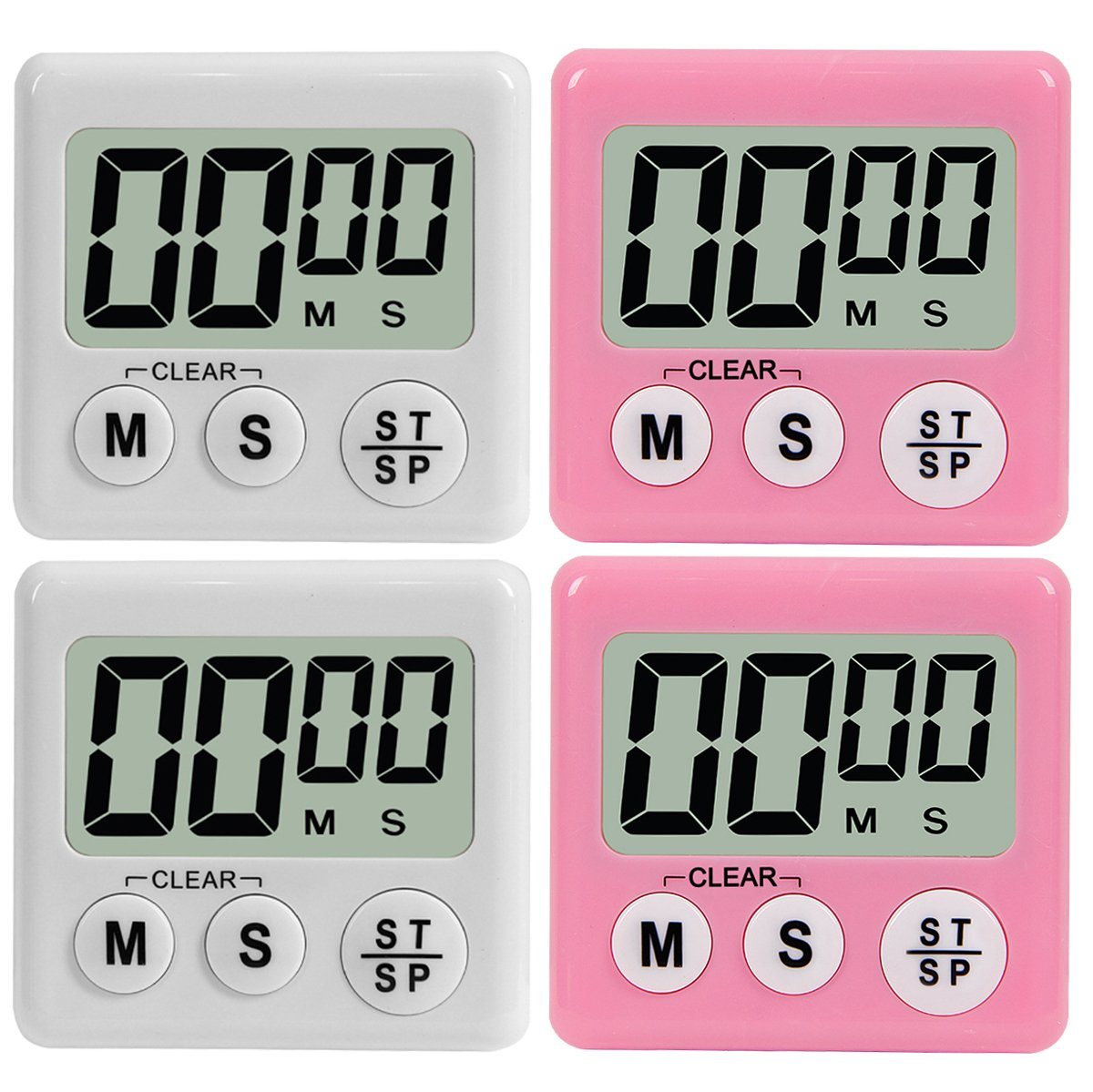 Digital Kitchen Timer UPGRADE 4 Pack Digital Electronic Big Digits Loud Alarm, Magnetic Backing with Large LCD Display for Cooking Baking Sports Games Office (2 White & 2 Pink)